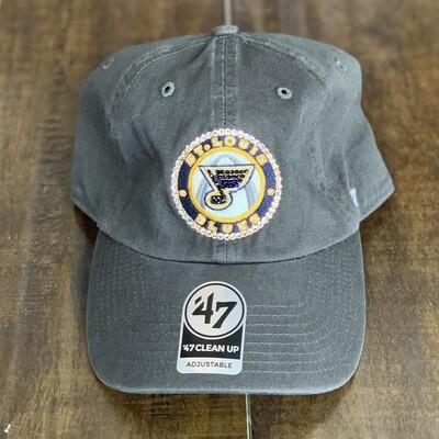 Grey '47 Hat W/ Clear Crystal