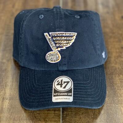 Navy '47 Hat W/ Grey Crystal