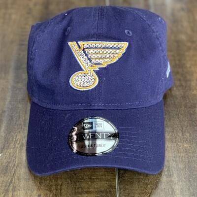 Navy New Era Hat W/ Clear Crystal