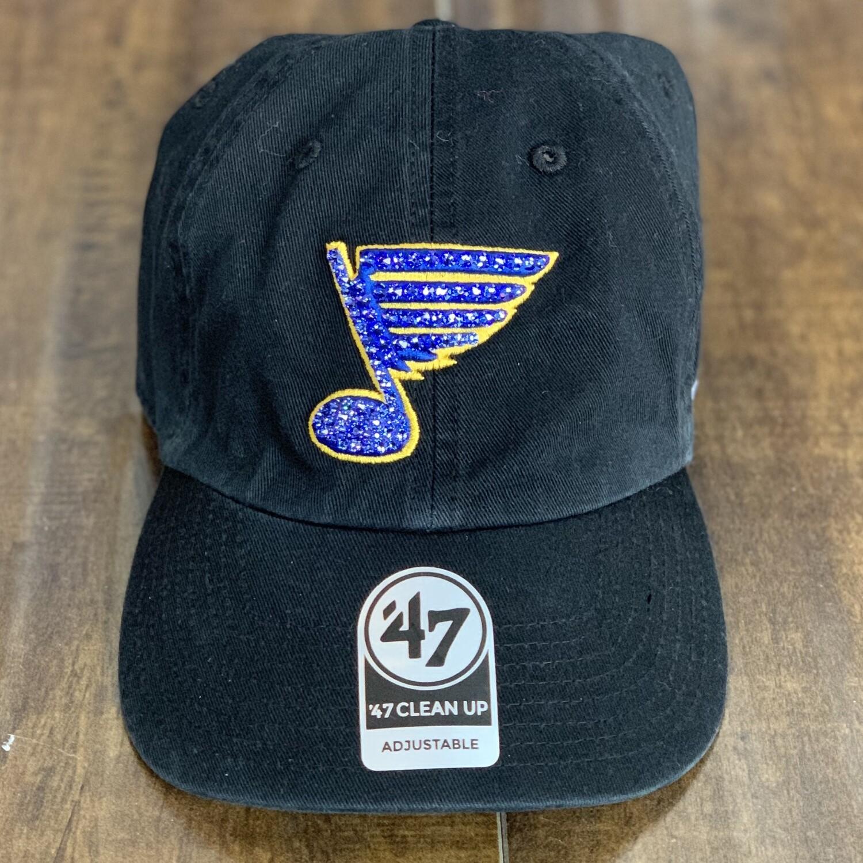 Black '47 Hat W/ Blue Crystal