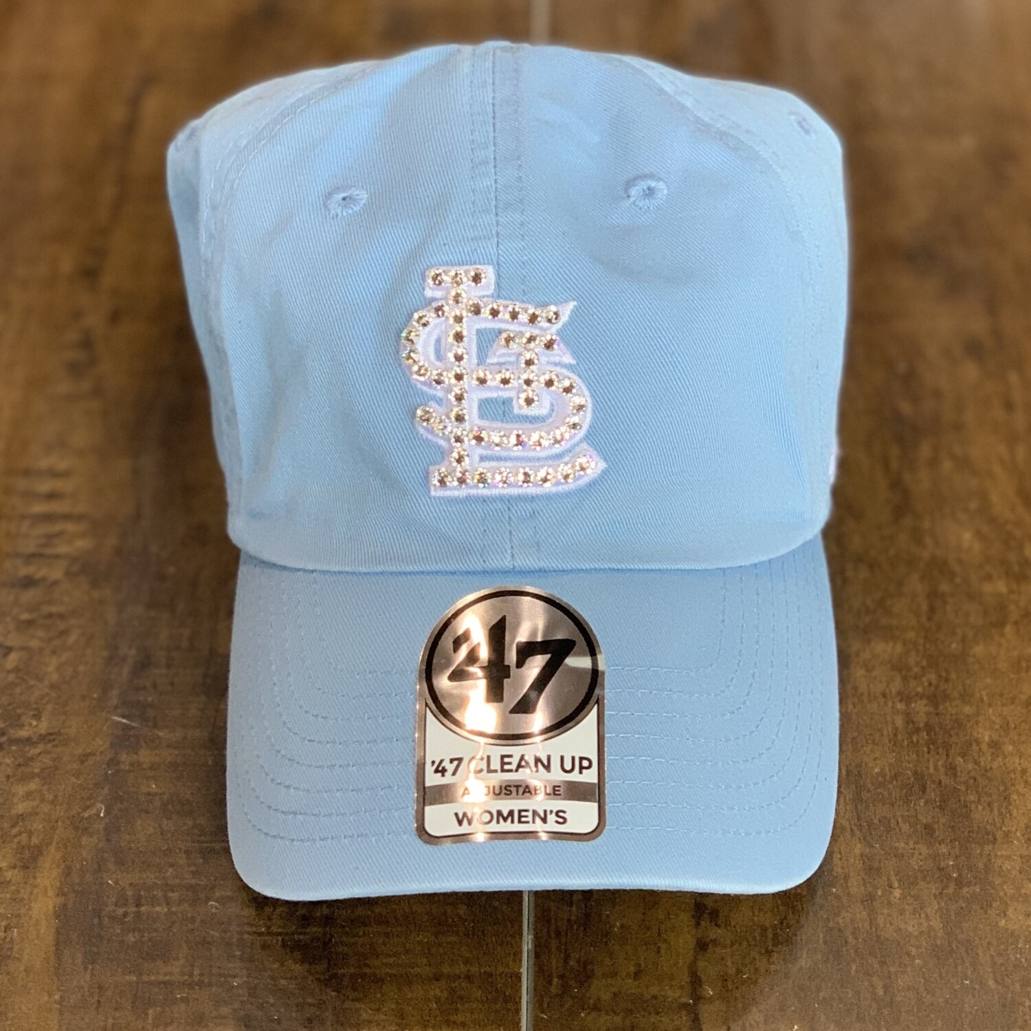Baby Blue '47 Hat W/ Clear Crystal