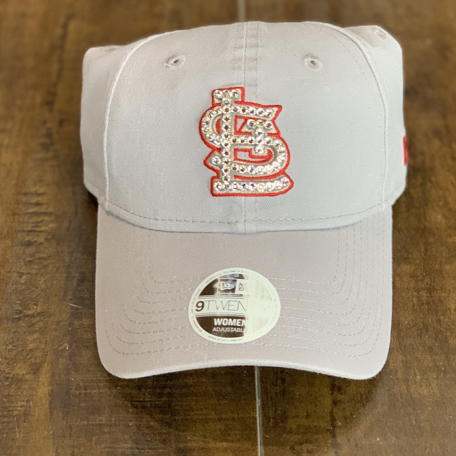 Lt. Grey New Era Hat W/ Clear Crystal