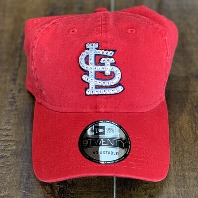Red New Era Hat W/ Clear Crystal