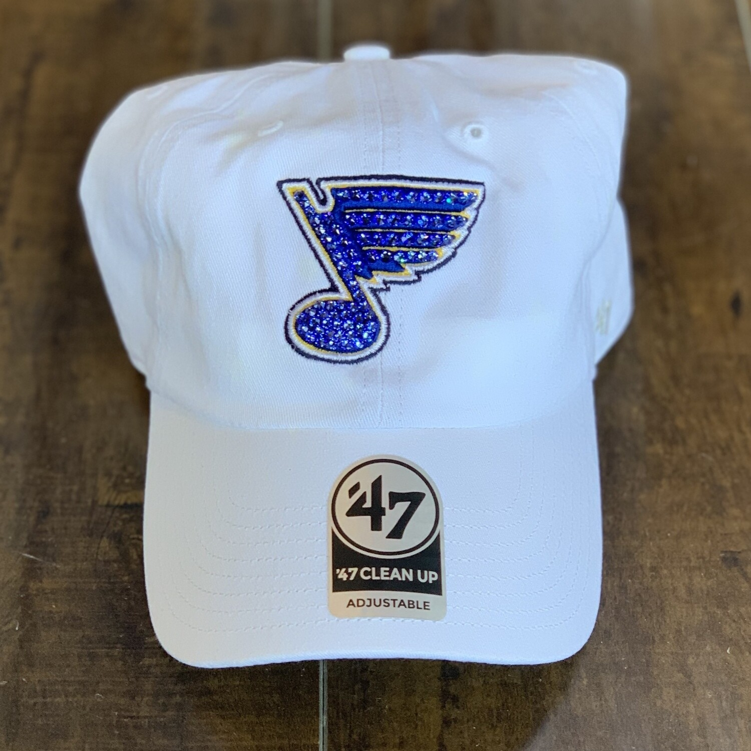 White '47 Hat W/ Blue Crystal