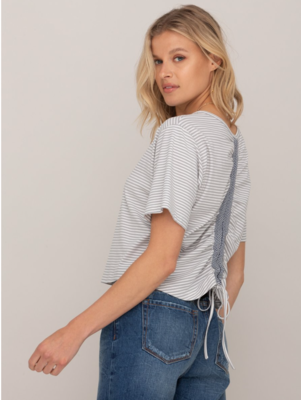 Striped Ruched Back Top