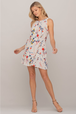 Tie-Back Cutout Floral Dress