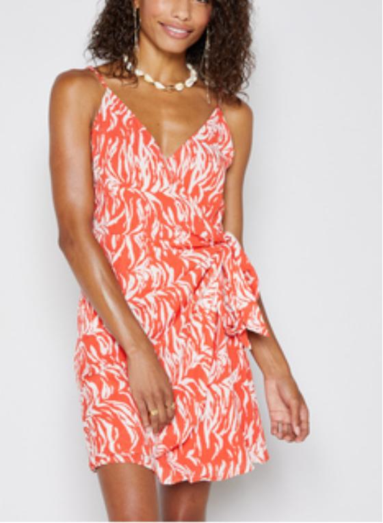 Orange Print Wrap Dress