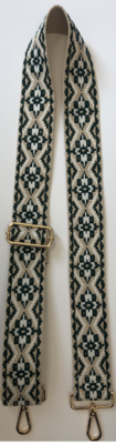 Cream/Olive Embroidered Guitar Strap