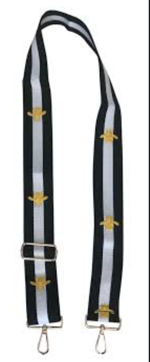 Black/White/Gold Bee Guitar Strap