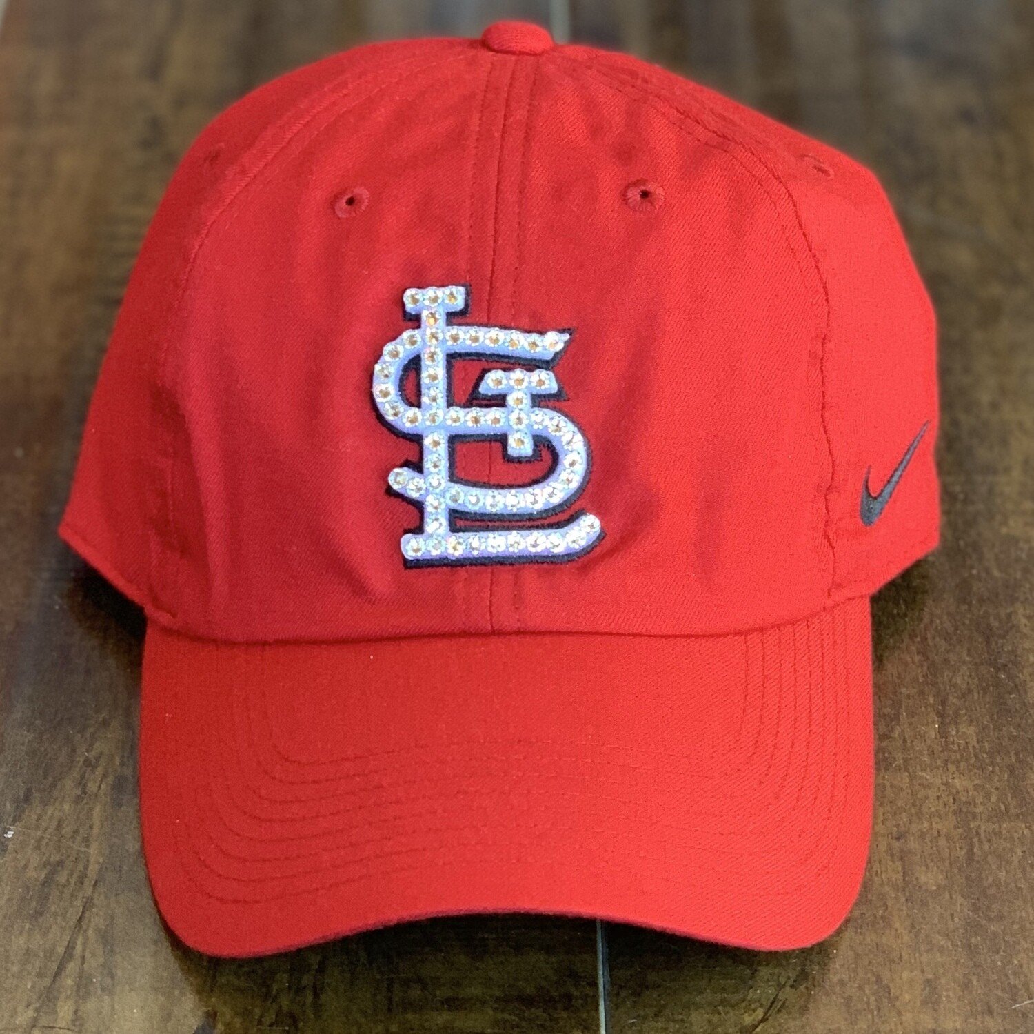 Red Nike Hat W/ Clear Crystal
