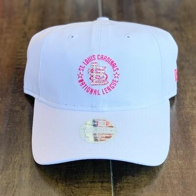 White New Era Hat w/ Pink Stitch