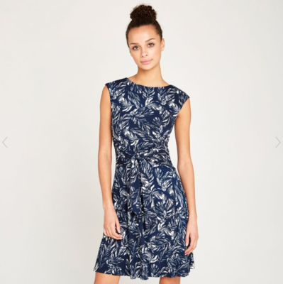 Navy Leaf Printed Dress