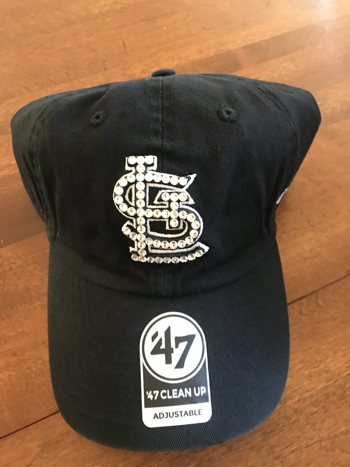 Black '47 STL Hat W/ Clear Crystal