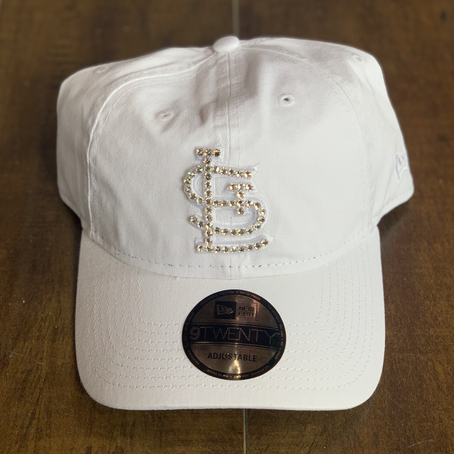 White New Era Hat w/ Clear Crystal