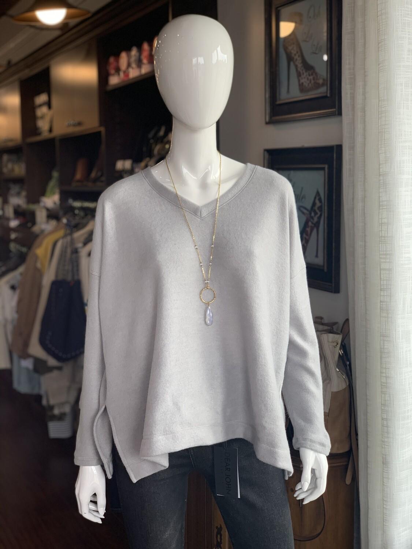 Silver Brushed Side-Slit Top