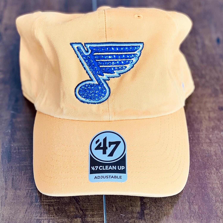 Yellow '47 Hat W/ Blue Crystal