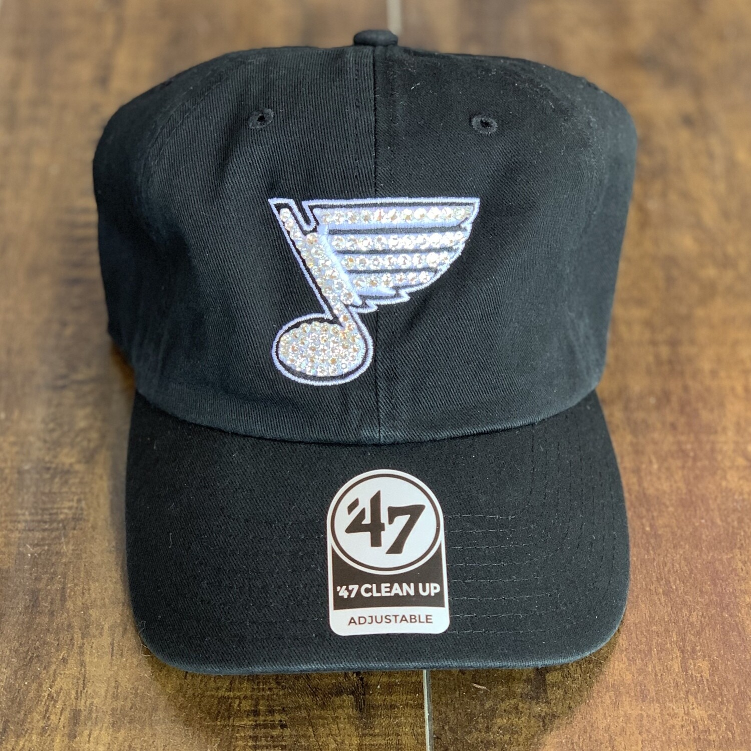 Blk '47 Hat W/ Clear Crystal