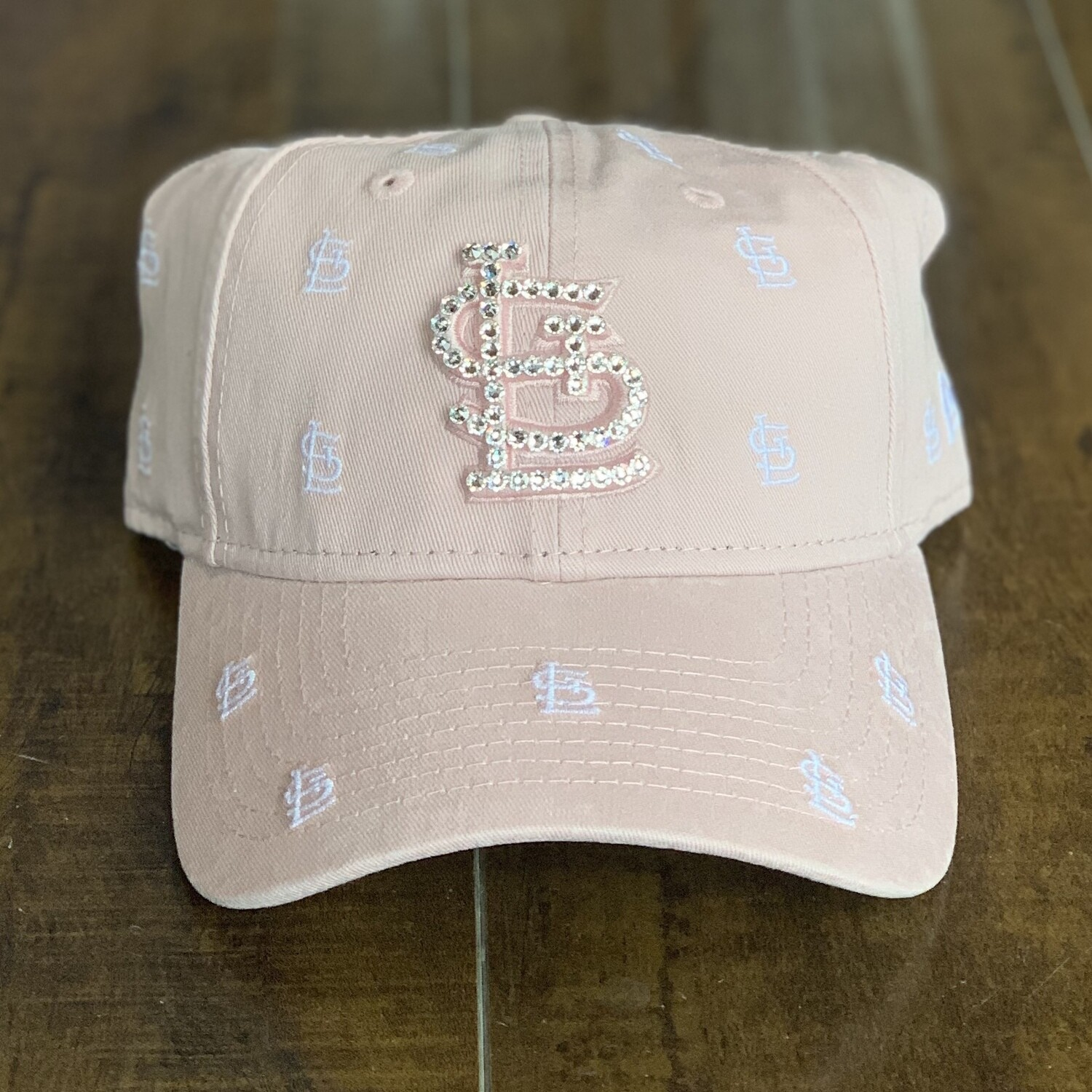 Pink NE Hat w/ Clear Crystal