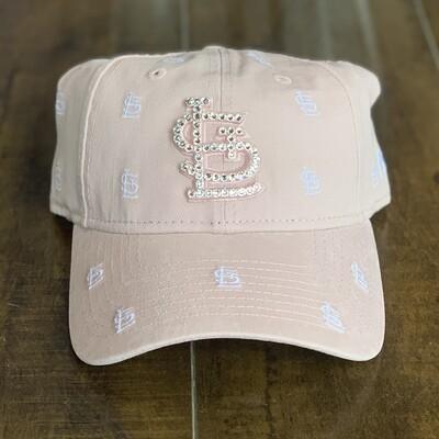 Pink NE Hat w/ Clear Crystal