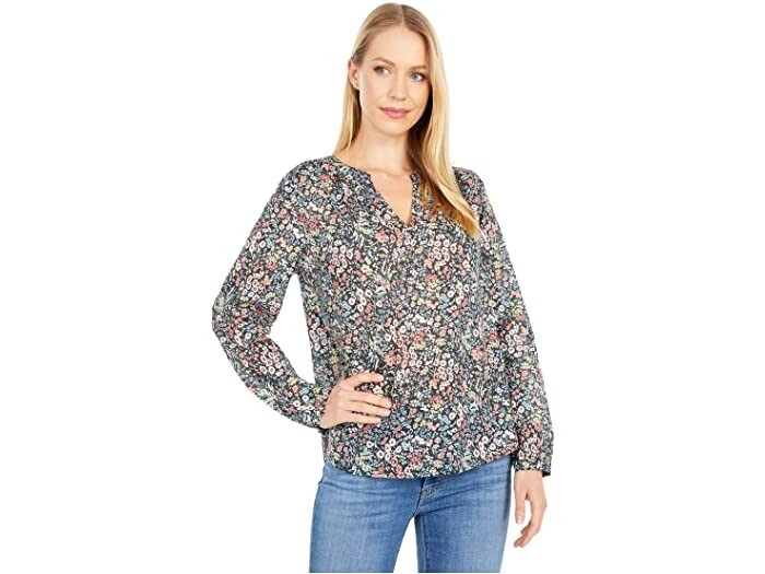 Floral Shirred V-Neck Top
