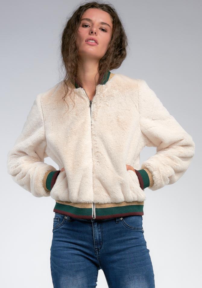 Fur Bomer W/ Knit Collar