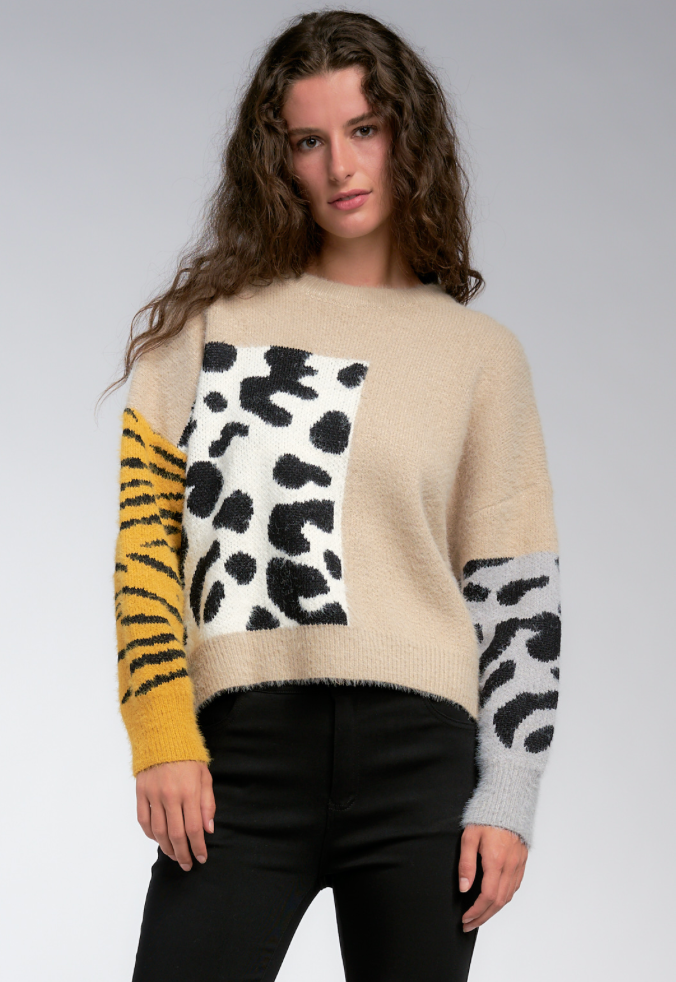 Mixed Animal Print Sweater