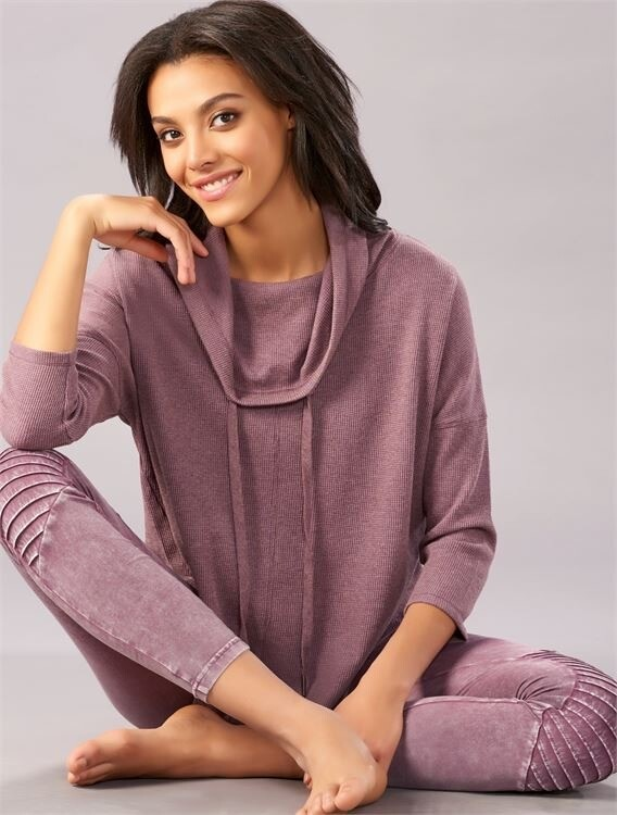 Plum Waffle-Knit Active Top