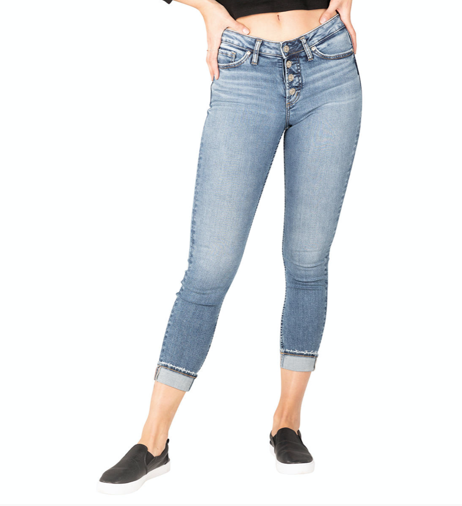 Button-Fly Skinny Crop