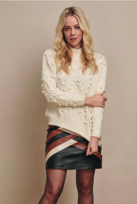 Ivory Pom Mock Neck Sweater