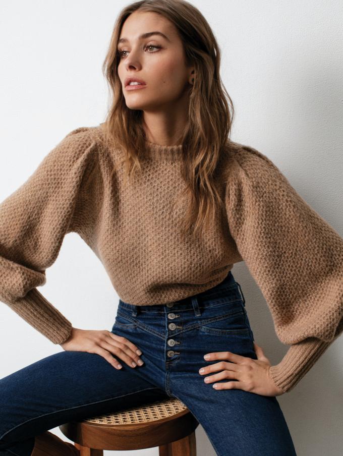 Latte Puff-Sleeve Sweater