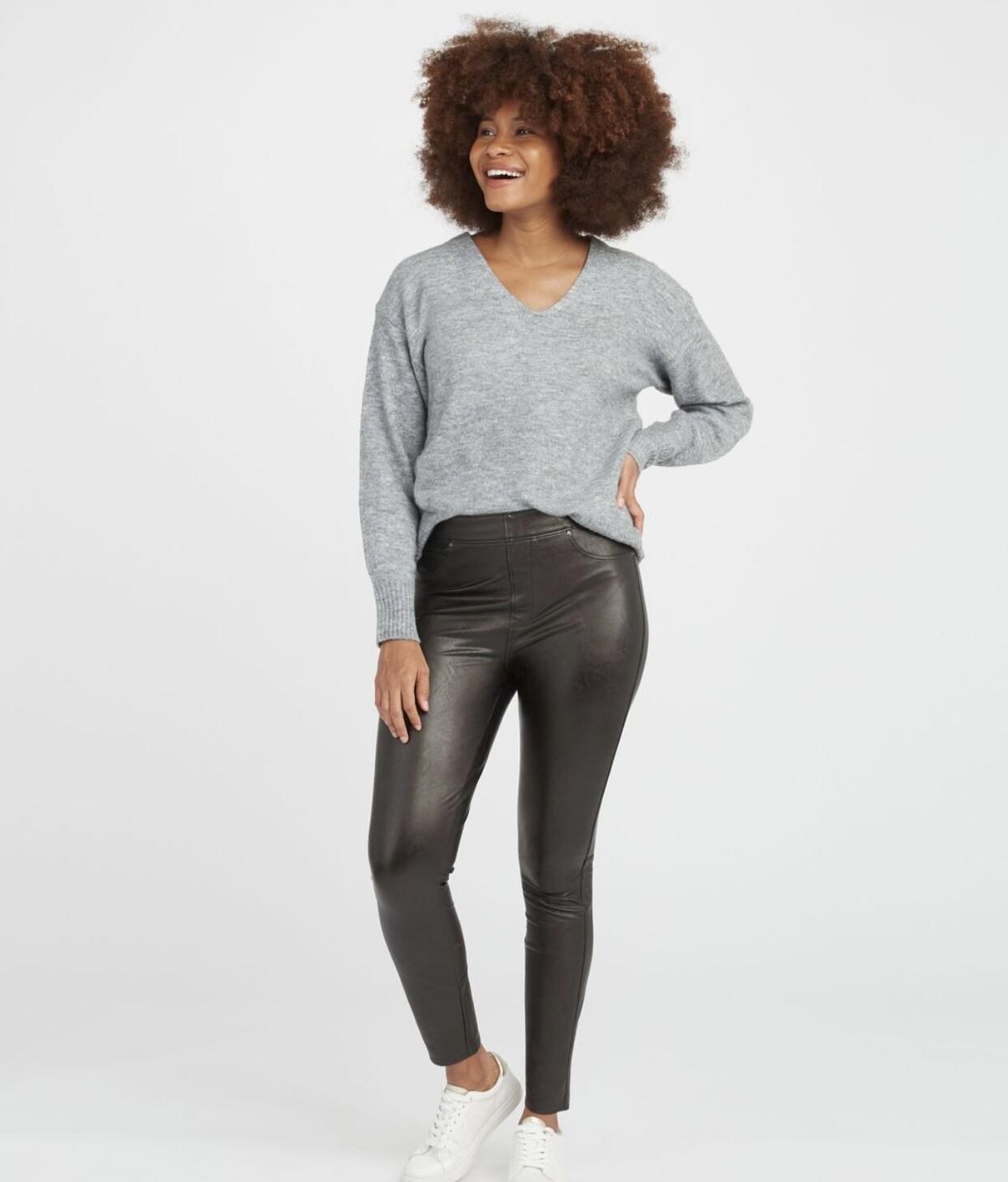 Black Leather-Like Pant