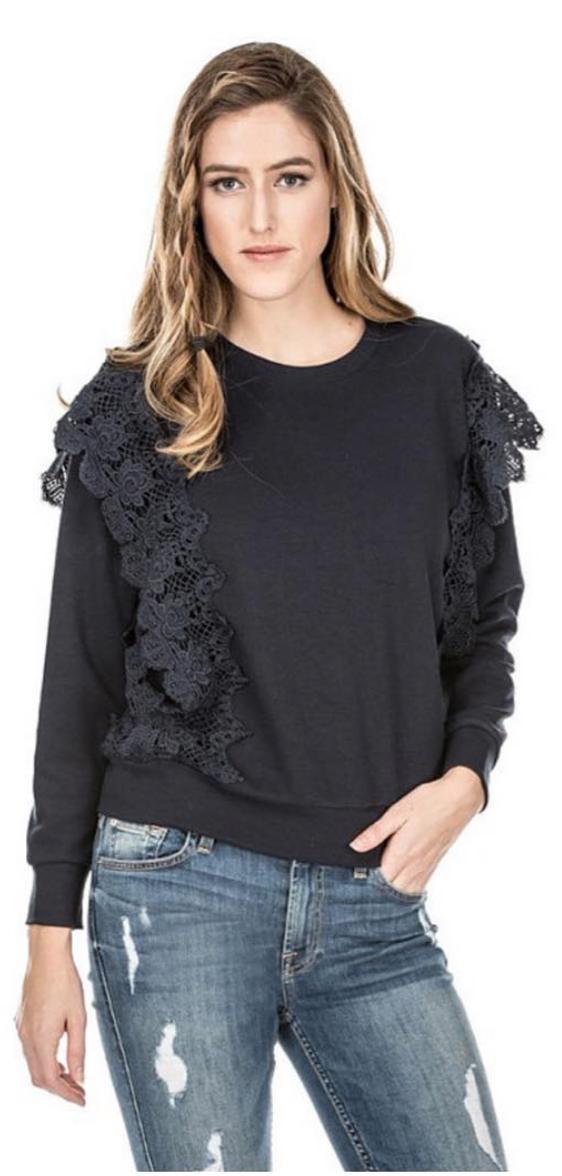 Navy Lace Frills Sweatshirt