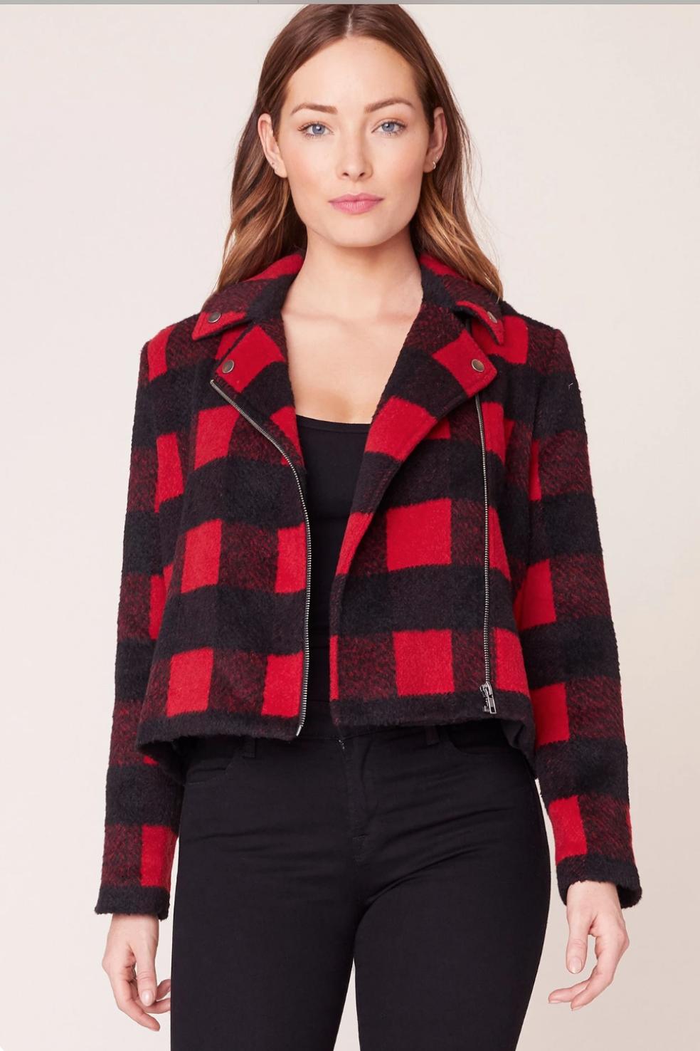 Red/Plaid Moto Jacket
