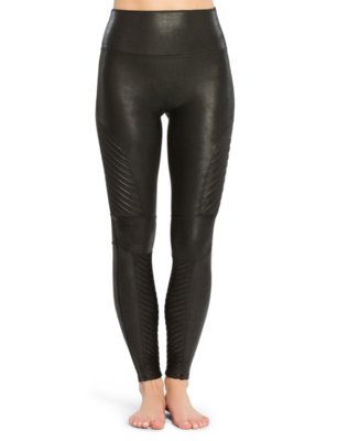 Blk Leather Moto Legging