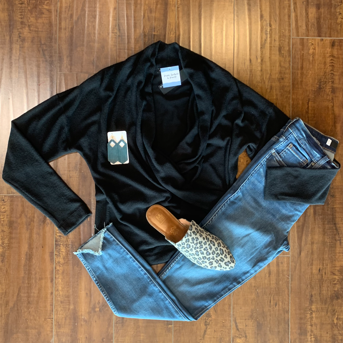 Black Brushed Sweater Top