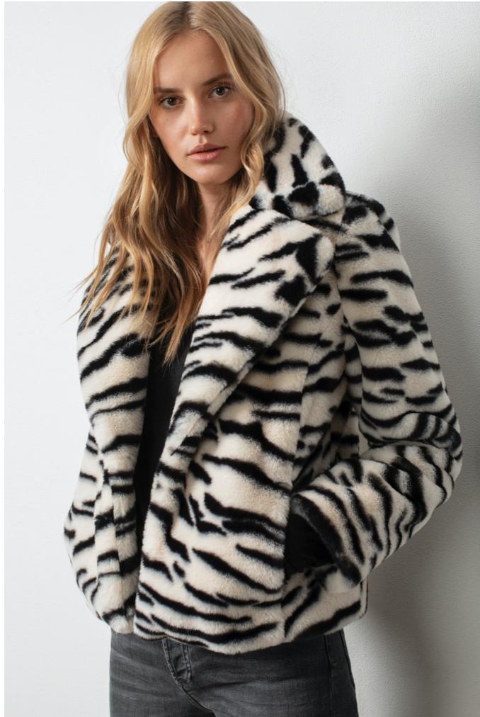 Zebra Faux Fur Jkt