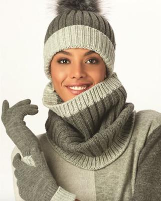 Grey Hat/Scarf/Glove Set