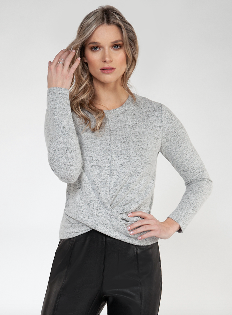 Brushed Knot-Front Top