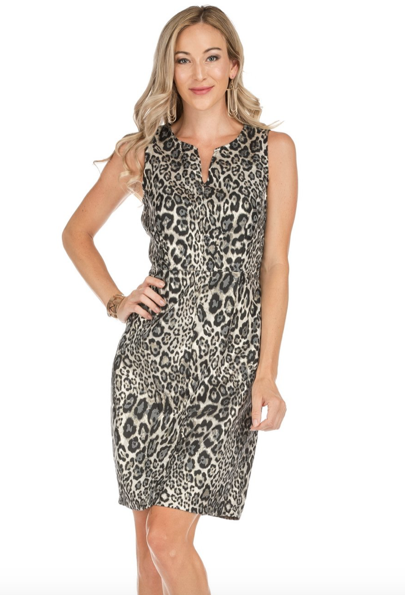 Metal Print Fitted Dress