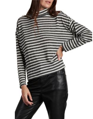 Metallic Stripe Cowl Top