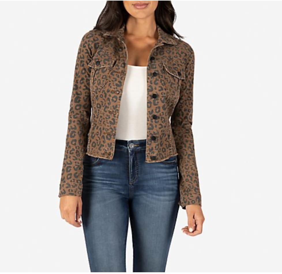 Leopard  Fray Denim Jacket
