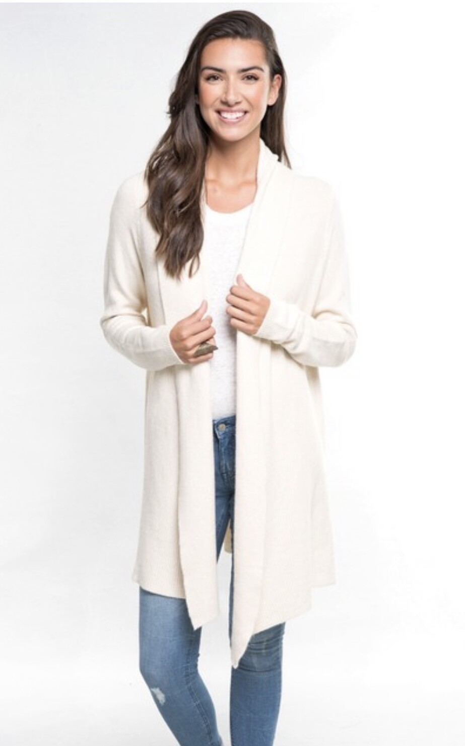 Cream Ribbed Cardigan