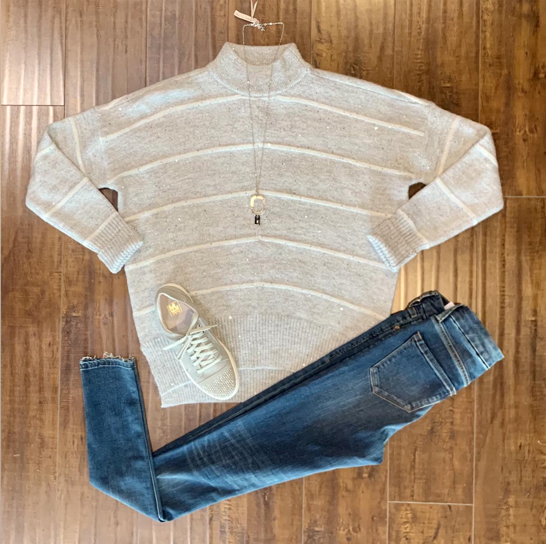 Grey Sparkle Stripe Sweater