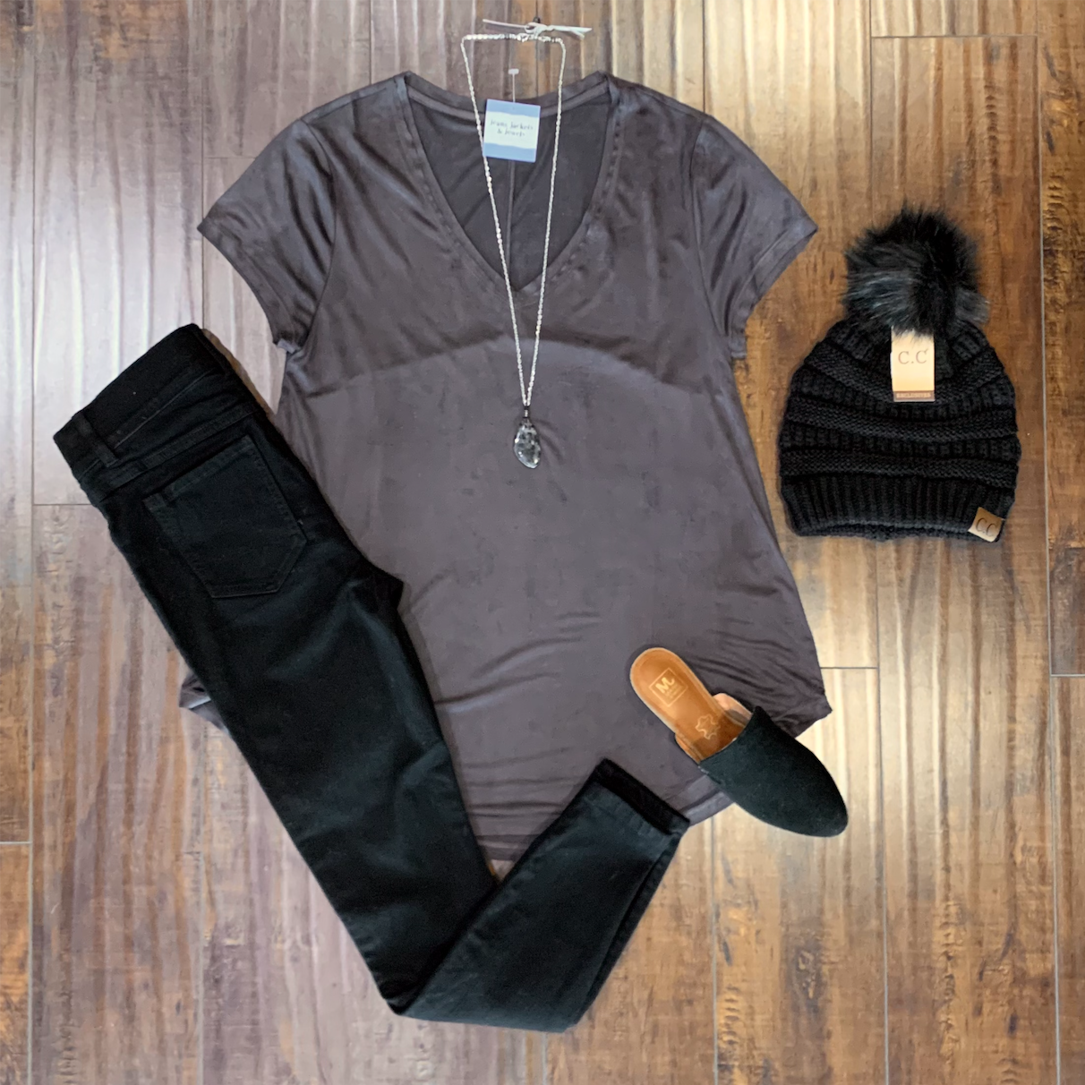 Charcoal Suede Tee