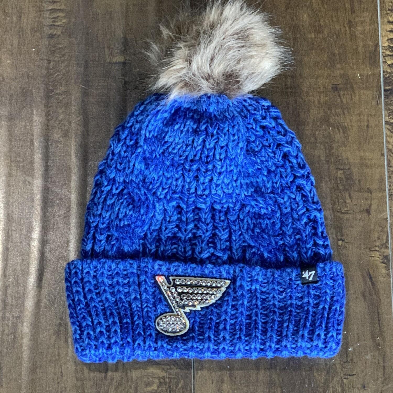 Blue Knit Pom W/ Clear Crystal