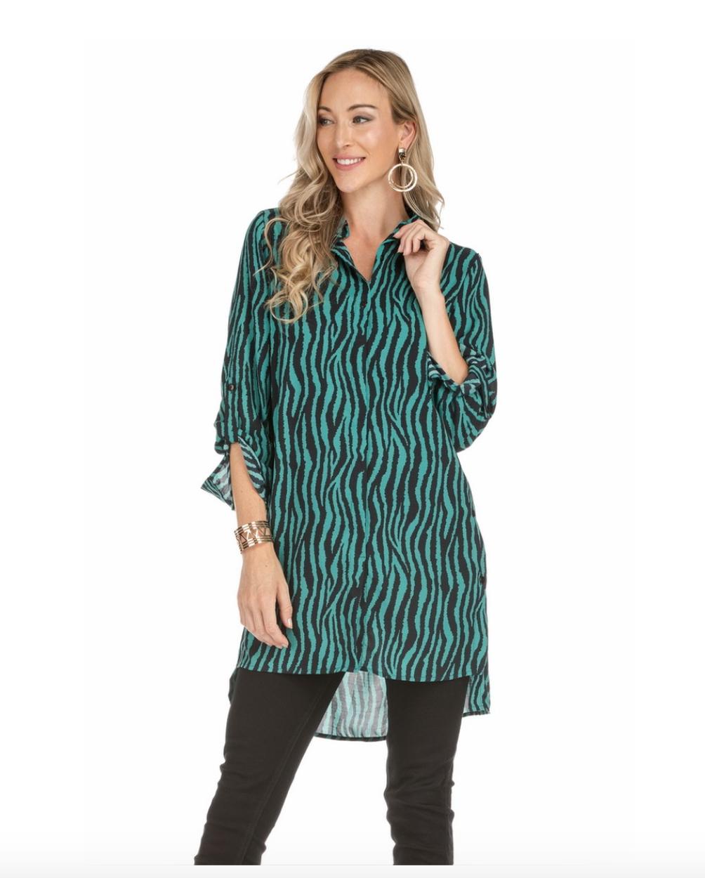 Teal Zebra Tunic/Dress