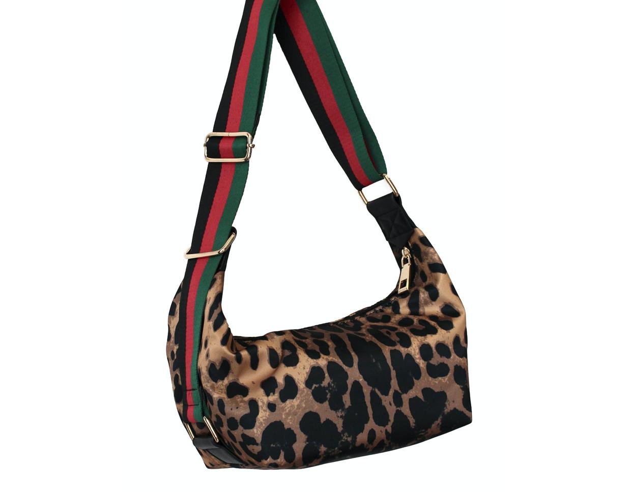 Leopard Nylon Sling Messenger Bag