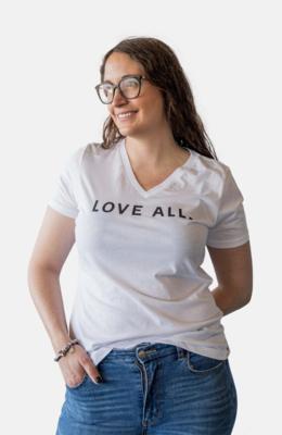 Love All V-Neck Tee-White