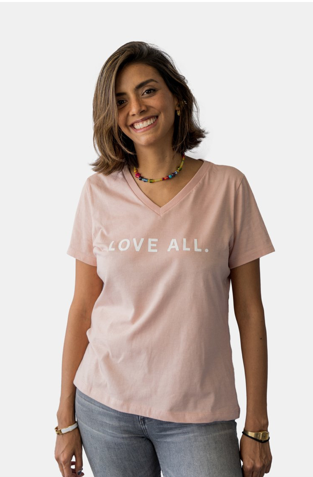 Love All V-Neck Tee-Pink