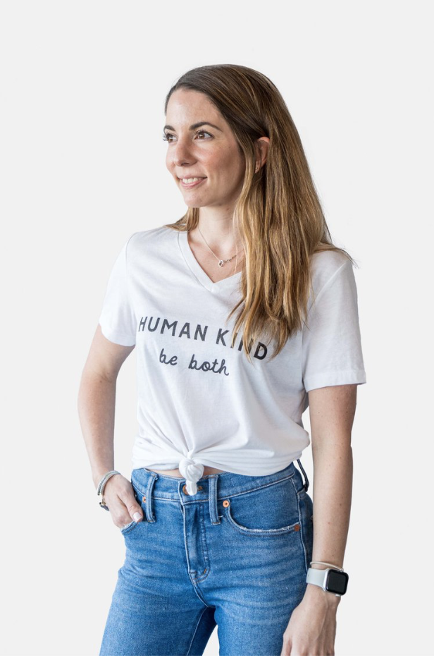 Human Kind V-Neck Tee-White